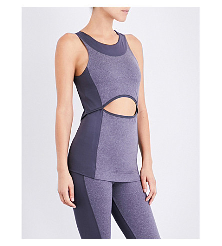 ADIDAS BY STELLA MCCARTNEY Yoga Comfort stretch-jersey top (Night+steel