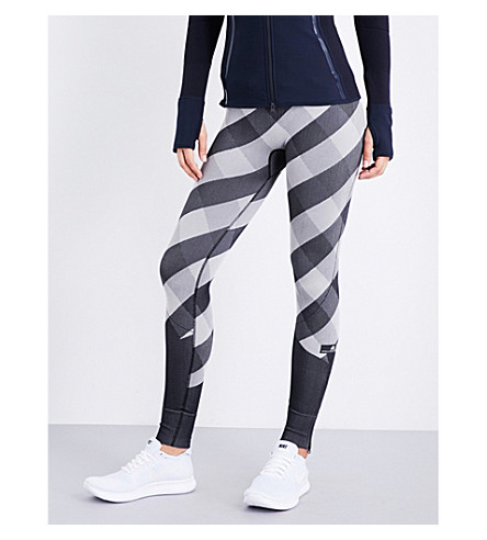 ADIDAS BY STELLA MCCARTNEY Training Seamless Check-print stretch-jersey leggings (Black/white