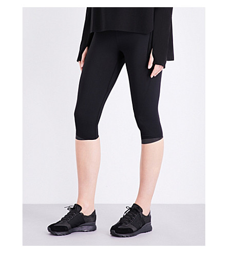 Y-3 SPORT Fine-knit cropped knitted leggings (Black