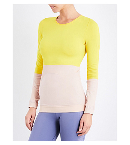 ADIDAS BY STELLA MCCARTNEY Training stretch-jersey top (Pearl+rose/super+yellow