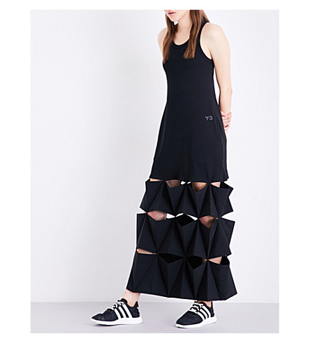 Y3 Origami-pleated cutout cotton-jersey maxi dress (Black