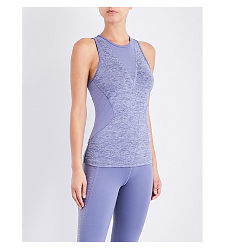 ADIDAS BY STELLA MCCARTNEY Training Check stretch-jersey top (Super+purple