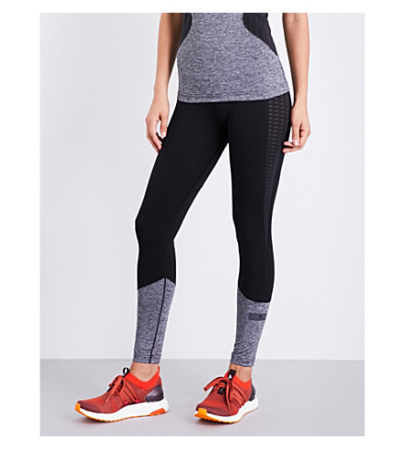 ADIDAS BY STELLA MCCARTNEY Contrast stretch-jersey training leggings (Black