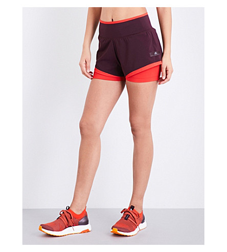ADIDAS BY STELLA MCCARTNEY Training Climachill stretch-jersey shorts (Dark+burgundy/core+red