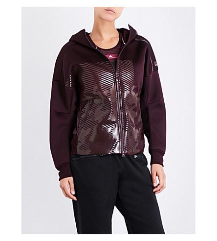 ADIDAS BY STELLA MCCARTNEY Z.N.E. knit-lined jersey hoody (Dark+burgundy