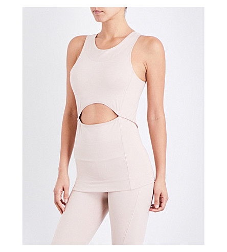 ADIDAS BY STELLA MCCARTNEY Yoga Comfort stretch-jersey top (Pearl+rose