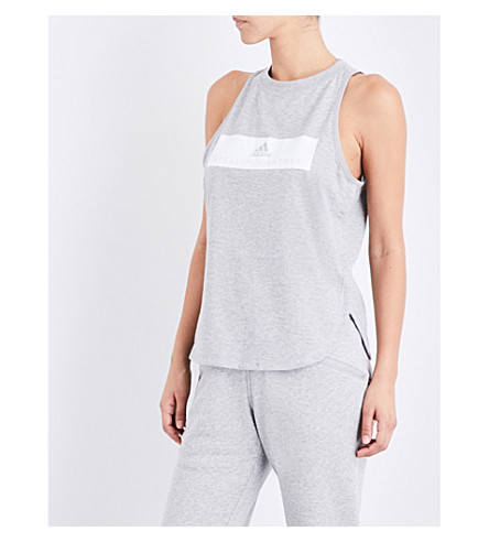 ADIDAS BY STELLA MCCARTNEY Essentials Logo cotton-jersey top (Medium+grey+heather