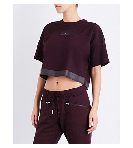 ADIDAS BY STELLA MCCARTNEY Essentials jersey cropped top (Dark+burgundy