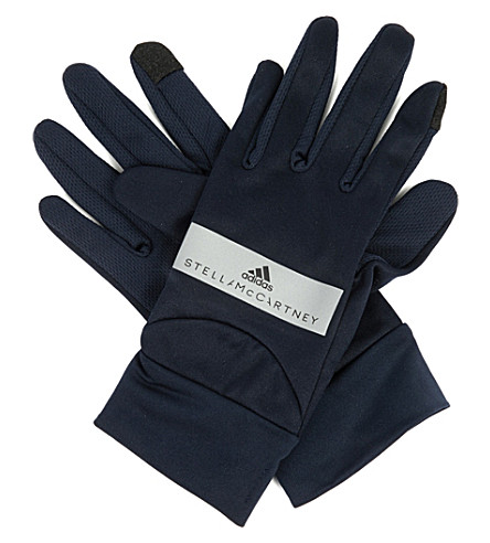ADIDAS BY STELLA MCCARTNEY Perforated jersey run gloves (Legend+blue