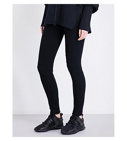 Y3 Textured wool-blend leggings (Black
