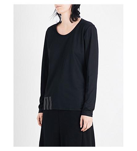 Y3 Text-print sports-mesh top (Black