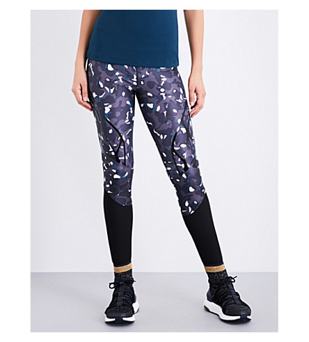 ADIDAS BY STELLA MCCARTNEY Run Sprintweb stretch-jersey leggings (Night+steel/black