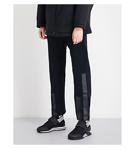 Y3 Stripe-detail straight cropped mid-rise cotton-jersey trousers (Black