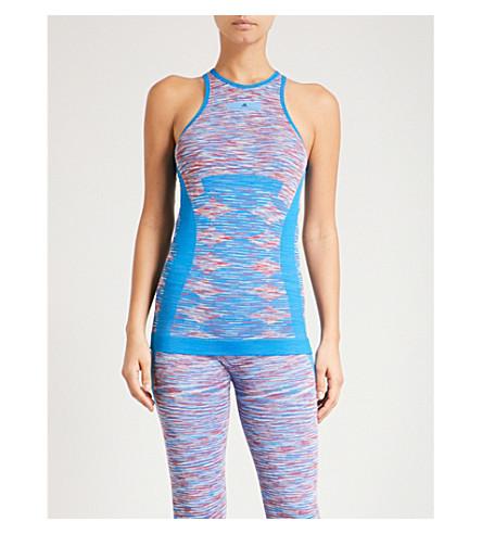 ADIDAS BY STELLA MCCARTNEY Yoga Seamless Space-Dye jersey top (Wht+dk+callisto+shck+blu
