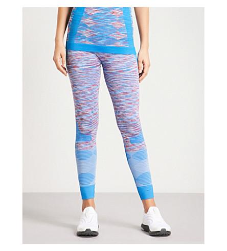 ADIDAS BY STELLA MCCARTNEY Yoga Seamless Space-Dye jersey leggings (Wht+dk+callisto+shck+blu