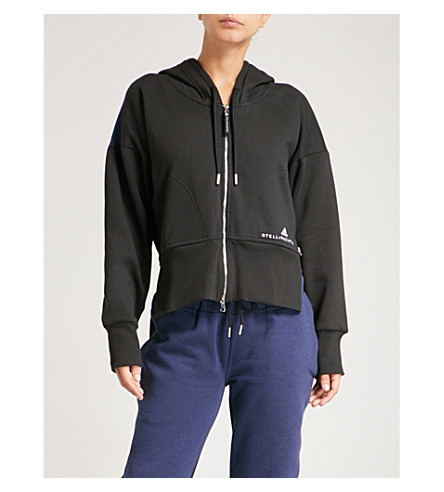 ADIDAS BY STELLA MCCARTNEY Essentials cotton-blend hoody (Black+midnight+sky