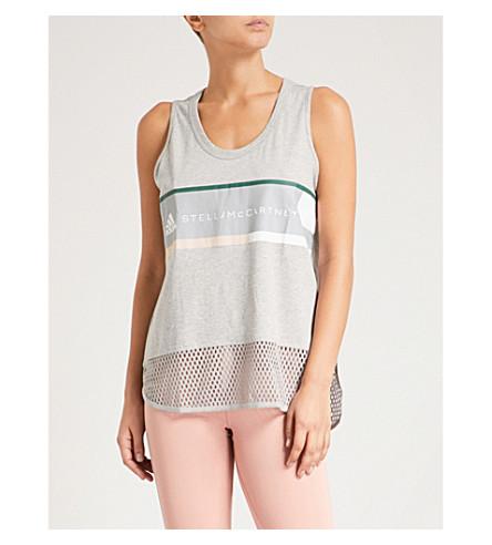 ADIDAS BY STELLA MCCARTNEY Essentials logo-detail cotton-jersey top (Medium+grey+heather