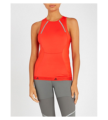 ADIDAS BY STELLA MCCARTNEY Run Shiny stretch-jersey top (Core+red