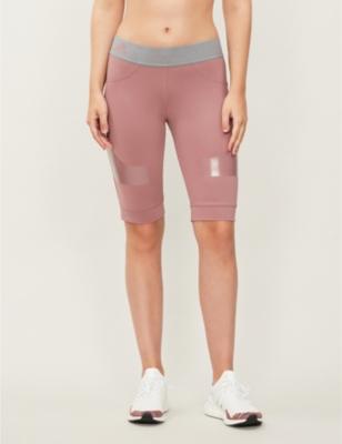 Hybrid stretch recycled-polyamide sports shorts