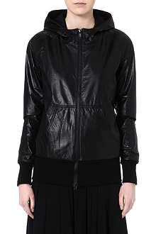 Y3 Hooded leather jacket