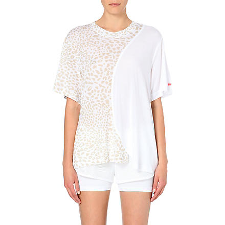 ADIDAS BY STELLA MCCARTNEY Leopard-print jersey t-shirt (White