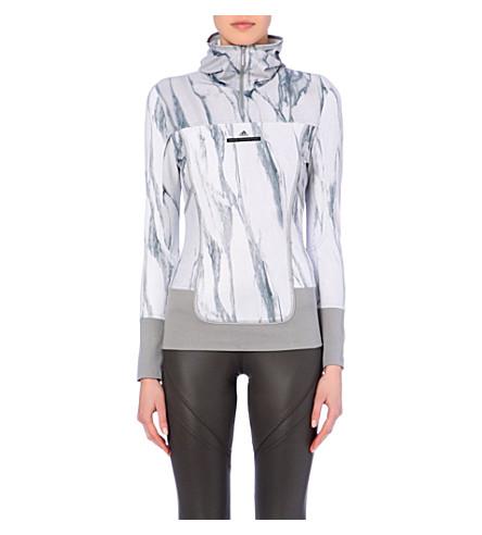 ADIDAS BY STELLA MCCARTNEY Marble-print stretch-jersey hoody (Ice grey