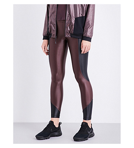 KORAL Curve cropped stretch-jersey leggings (Bordeaux+black