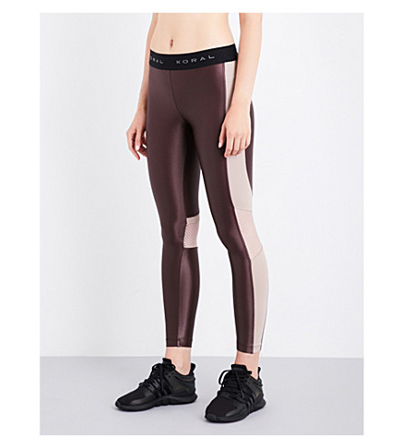 KORAL Emblem high-rise jersey leggings (Bisque+bordeaux