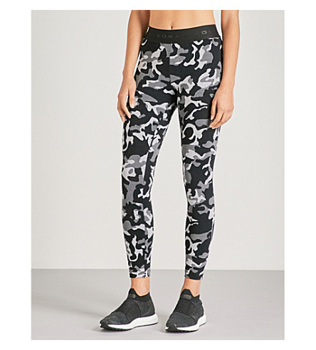 KORAL Knockout mid-rise jacquard leggings (Black+camo+with+black