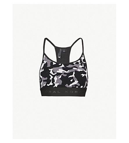 KORAL Sweeper Versatility stretch-jacquard sports bra (Black+camo+with+black
