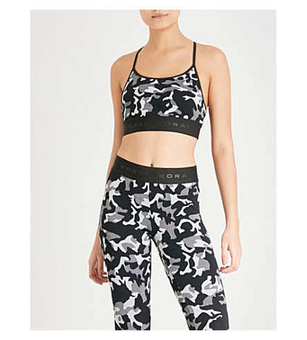 KORAL Sweeper Versatility stretch-jacquard sports bra (Black+camo+with+black