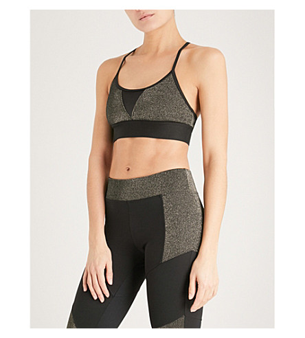 KORAL Trifecta etallic stretch-jersey cropped top (Black+w/gleam