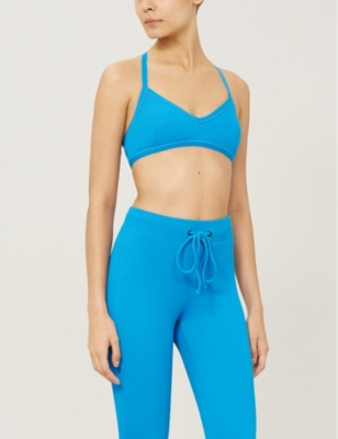 Trine Rib crossover back stretch-jersey sports bra