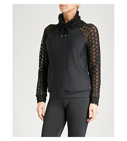 KORAL Funnel contrast-sleeve jersey sweatshirt (Black