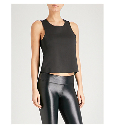 KORAL Seeker stretch-jersey cropped top (Black+/gold