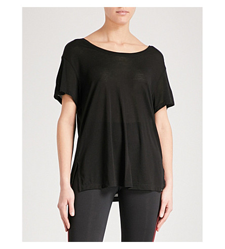 KORAL Euphoria open-back jersey T-shirt (Black