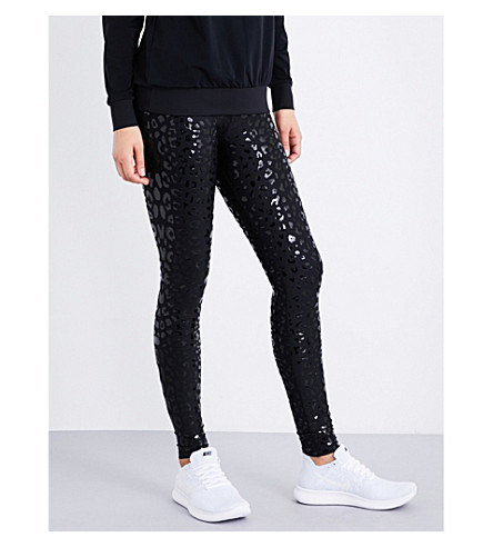 ULTRACOR Leopard stretch-jersey leggings (Black/patent+black