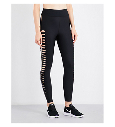 ULTRACOR Silk slash high-rise stretch-jersey leggings (Black/iridescent+gold