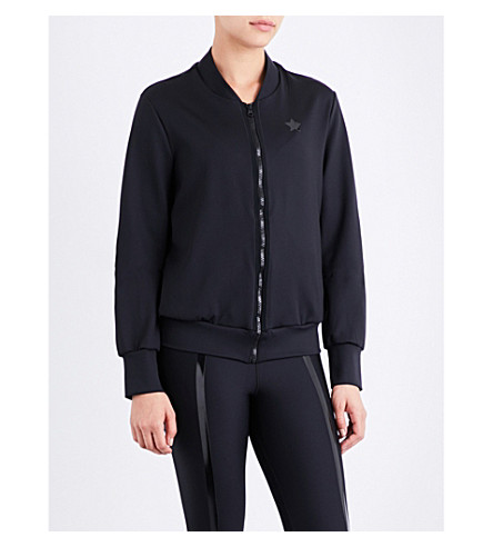 ULTRACOR Knockout stretch-jersey bomber jacket (Black/patent+black
