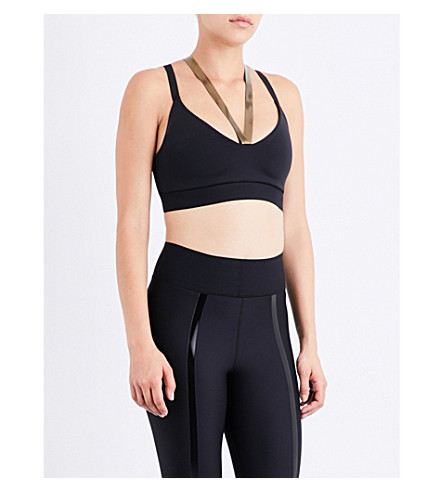 ULTRACOR Rhombus stretch-jersey sports bra (Black/iridescent+gold