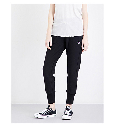 CHAMPION Tapered cotton-blend jogging bottoms (Black