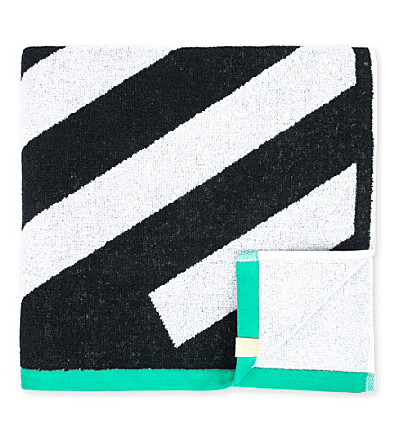 MONREAL LONDON Zig-zag patterned cotton towel (Black/whtie
