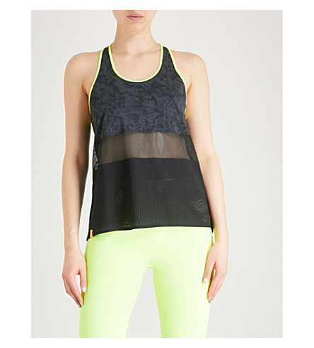 MONREAL LONDON Mesh-panel racerback jersey top (Black/zing