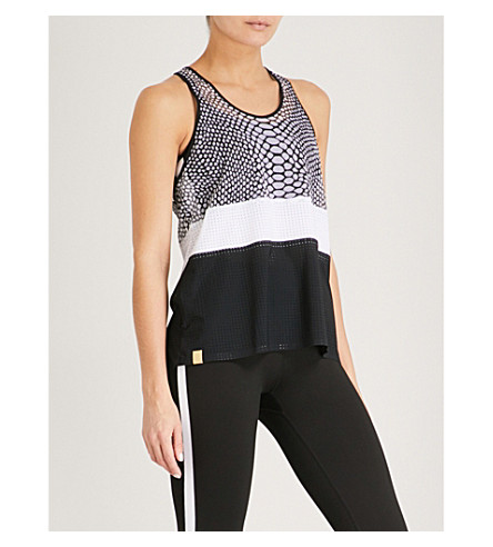MONREAL LONDON Python-pattern racerback jersey top (Black+reptile