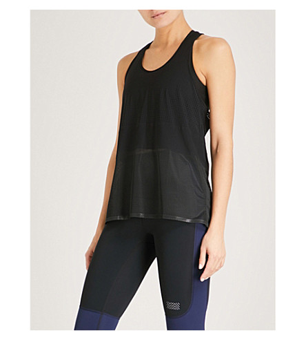 MONREAL LONDON Mesh-panel racerback jersey top (Black