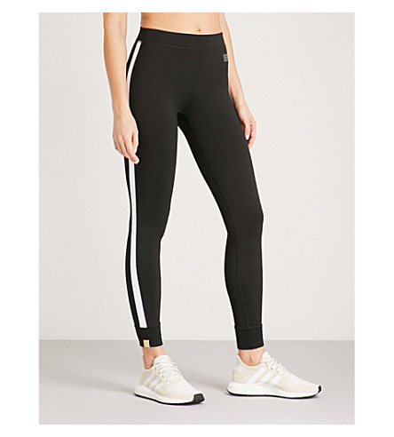 MONREAL LONDON Athlete striped-panel stretch-jersey leggings (Black+white