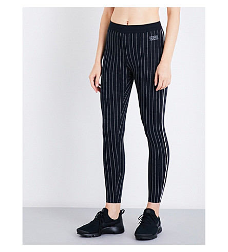 MONREAL LONDON Action stretch-jersey leggings (Black+pinstripe