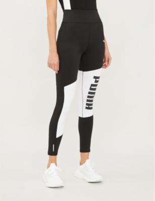 Logo-print high-rise stretch-jersey leggings