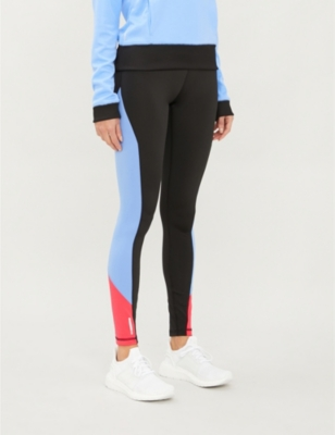 Tonal-striped high-waisted stretch-jersey leggings