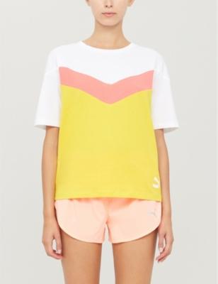 Colour block cotton-jersey T-shirt